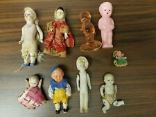 Vintage Small Doll Assortment 5 Porcelain 3 Plastic 1 Kewpie Glass