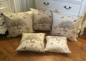 HANDMADE cushion cover Use Tatton woodland animal fox owl Fabric SINGLE SIDED