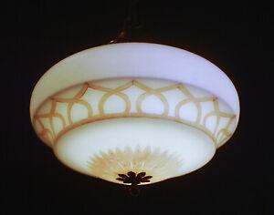 Vintage 1940s Rare Large Art Deco Opaline milk glass school house pendant light