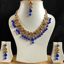 BLUE GOLD INDIAN KUNDAN COSTUME JEWELLERY NECKLACE EARRINGS CRYSTAL SET NEW 038