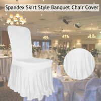 Wedding Banquet Spandex Pleated Skirt Style White Ruffled Slipcover Chair Cover