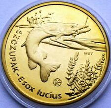 POLAND 10 ZLOTYCH RYBEK 2008 PIKE FISH - SZCZUPAK LARGE 32mm COIN IN CAPSULE
