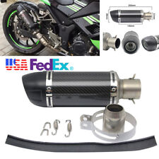 Carbon Fiber 51mm Motorcycle Slip-On Exhaust Muffler Pipe Tip Escape DB Killer