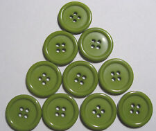 10 x Large OLIVE GREEN 4-Hole Resin Buttons 22mm Wide (SB8M)