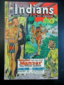 INDIANS #2, 1950 FICTION HOUSE, VG, 4.0, MANZAR THE WHITE INDIAN, LONG BOW