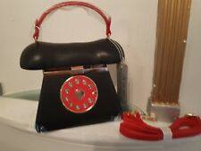 Ladies Handbag. Telephone. Dial. Mirror.  Black. Fast 'N' Free Delivery.