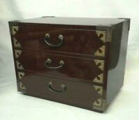 DRAWER WOOD TANSU CHEST MEIJI OLD JAPANESE ANTIQUE Storage Box Handmade Japan 19