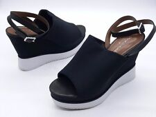 DONALD J PLINER Size 7.5 Black Open Toe Ankle Strap High Wedge Sandals