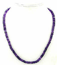 103 Ct Natural Amethyst Wheel Tyre Heishi Rondelle Beads Necklace String - B153