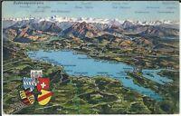 Ansichtskarte Bodenseepanorama 1935 - coloriert - mit Bergen und Dörfern