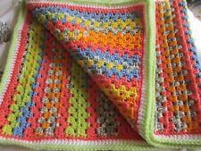 Handmade Crochet Rainbow blanket, car seat blanket, lap,pram,play, pet blanket.