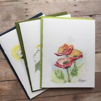 Hand Painted Watercolor Greeting Cards - Set Of Three (3) Flowers