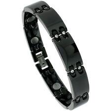 Black Tungsten Carbide Ceramic Bar Magnetic Bracelet w/ Cubic Zirconia Stones