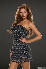 Party Club Formal Wear Modern Stylish Mini Bandeau Dress UK size 10-12 - Black