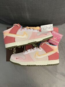 Sz 10 Social Status x Nike Dunk Mid Strawberry Milk Free Lunch Light Soft Pink