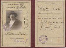 A50-F.S.TESSERA RICONOSCIMENTO APPARTENUTA A MOGLIE EX MACCHINISTAANNO 1929