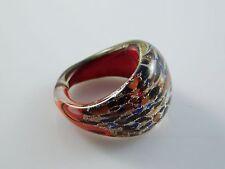"Lovely Murano Glass Silver Foiled Lampwork Handmade Multicolor Ring US 8"""