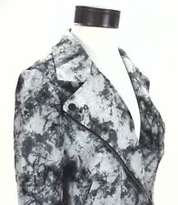 DKNY Jacket Tie Dye Gray/Black Motorcycle Moto Zip Up Lightweight Women's M $169
