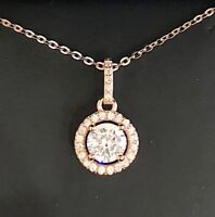 "Sparkling 2 Ct Round Diamond Halo Pendant Necklace 18"" Chain 14K Rose Gold Plate"
