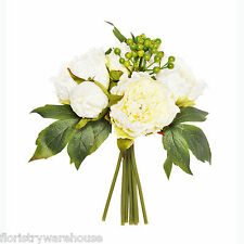 Artificial Peony and Berry Posy Cream and Green 26cm/10 Inches