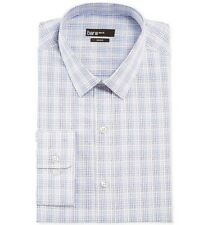 Bar III Slim-Fit Check Dress Shirt, Blue Satin, 14 1/2, 32-33