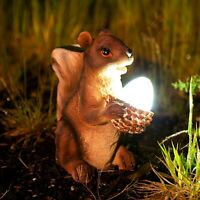 Solar Powered Novelty Squirrel Garden Ornament With LED Light Patio Lawn Statue