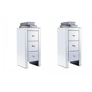 Pair of Bedside Table Cabinet Mirrored Glass Drawers Crystal Nightstand Durable