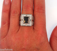 Black CZ & Lot of Crystal Silver Rhodium Plated Ring Size 9