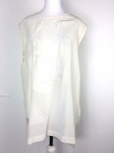 AllSaints All Saints Nico Logic Silk Tunic Top Chalk White Destroyed Worn UK10