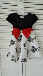 Doliie & Me size 2 Toddler black white dress,red accent ribbon, poly ,nylon
