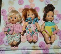 Lot of 3 Vintage 1990 Hasbro Pawtucket Tell Me Tots Betty Bye Talking Dolls
