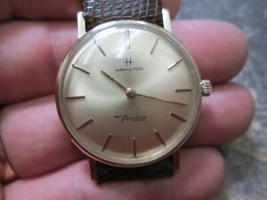VINTAGE Hamilton GOLD FILLED THINLINE RUNNING MENS WRIST WATCH