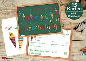 15 Einladungskarten zur Einschulung - Set mit Umschlägen - Einladung Schulanfang