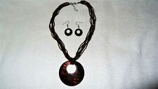 Brown Black Circle Design Shell Necklace Earring Set Jewelry Pendant Seed Ocean