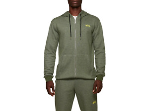 Sweat-Shirt ASICS Tiger Homme à Capuche 2191A165 At Fz Sw Vert Neuf