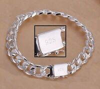 925 Sterling Silver Women's Bracelet 8mm Cuban Curb Link Chain wGiftPkg D454F