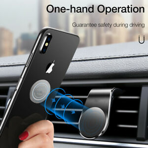 FLOVEME Car Phone Magnetic Clip L ShapeHolder Air Vent Mount For Cell Phone NEW