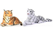 Myaka aset of two  Soft Toys  Tiger's Combo in white and golden colors