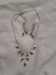 Red And White Crystal Necklace And Earring Sets Ideal Prom/Xmas Ect