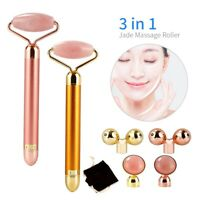 3 in 1 Electric Natural Quartz Facial Jade Roller Face Massager Beauty Tool Set