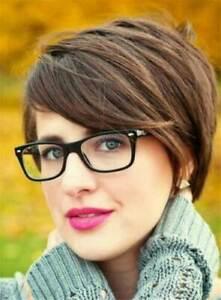 100% Human Hair New Fashion Sexy Women's Short Light Brown Straight Full Wigs