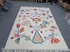Vintage European Wool Hand Made Kilim Rug Weaving 4'9 x 6'6 Folk Art Flat Weave