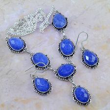 "Handmade Blue Sapphire Gemstone 925 Sterling Silver Necklace 18.75"" Set #H83197"