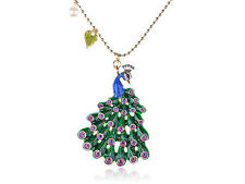 Golden   Crystal Rhines  Enamel Hand-Painted Peacock Bird New Necklace Pendant