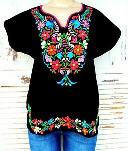 Mexican Embroidered Women's Blouse Assorted Sizes & Colors S To 3XL Peasant Top