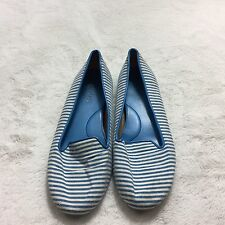 Talbots Womens White And Blue Striped Slip On Flats Size 7.5 Textile Casual