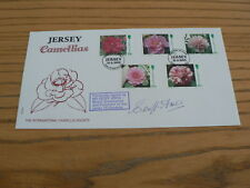1995 Jersey First Day Cover, Camellias, signed Geoff Amos, Presenter, No 4 of 5