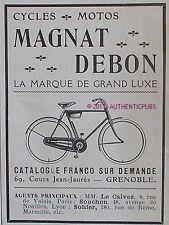 PUBLICITE MAGANT DEBON CYCLES MOTOS VELO BICYCLETTE DE 1922 FRENCH AD PUB RARE