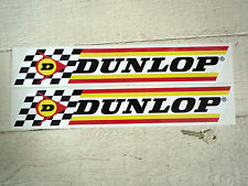 DUNLOP Classic Check & Stripes 16in Pair Car & Bike STICKERS Race Rally Tyres