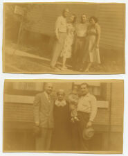 1951 AFRICAN AMERICAN SET OF 2 SNAP SHOT PHOTOS FAMILIES/COUPLES OUTSIDE BUILDIN